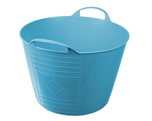 Ondis24 Flexi Tub Tragekorb, 34cm Ø x 27 (H) cm, Gartenkorb, Wäschekorb, Spielzeugeimer, Flexible und praktisch,15 Liter, blau (1 Stück)