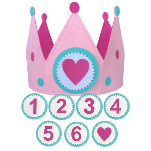 Corona de cumpleaños niña y bebé de tela fieltro. Incluye números intercambiables de de 1 a 6 años, más un círculo de corazón
