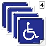 Sigo Signs (4 Pack) Handicap Stickers - Disabled Wheelchair Sign, 4½ X 4½' 4 Mil Sleek Vinyl Decal Stickers Weather Resistant Long Lasting UV Protected and Waterproof Made in USA