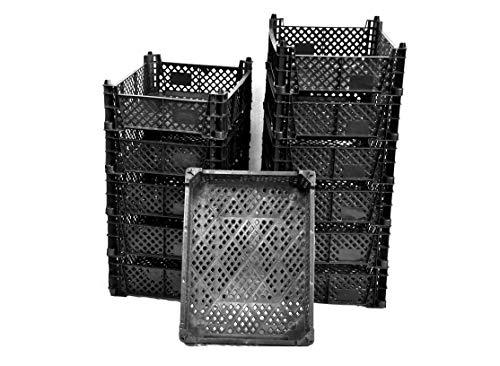Cajas apilables de plástico con diseño de musgo, para almacenamiento, para verduras y frutas, juego de 12 unidades, color negro