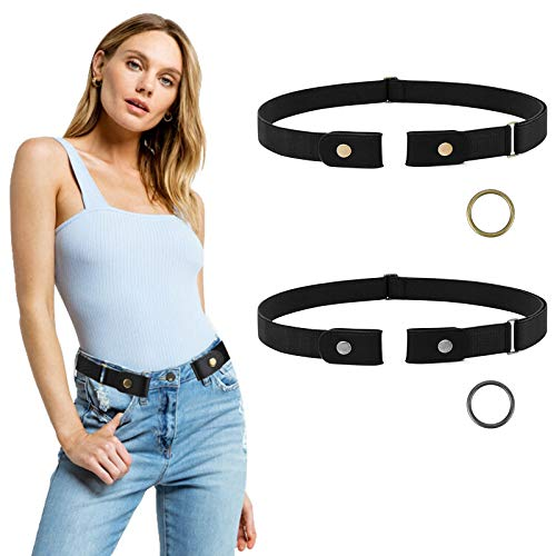 2 Pieces No Buckle Elastic Stretch Belts For Men and Women, Buckle Free Adjustable Invisible Elastic Belt Unisex for Jeans Pants and Dress with Metal Buckle Fits Waist 19-52in