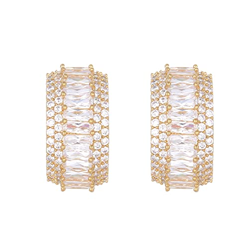 Pendientes de moda de atmósfera simple europea y americana pendientes de clip de oreja de hebilla de oreja de cobre de circón populares pendientes