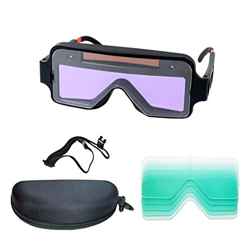 Splar automatic darkening welding goggles,welding glasses,5PC protective lenses,With a storage box suitable for glasses…