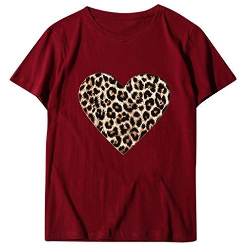 Xniral Damen Top Bluse Bequem Lässig Mode T-Shirt Frühling Sommer Blusen Frauen Lose Oansatz Spitze der Art und Weisefrauen kurzärmliges Herz Buchstabe Druck(b-Wein,3XL)