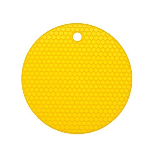 LUOSI Runde Hitzebeständige Silikonmatte Getränk Tasse Untersetzer rutschfeste Topfhalter Organizer Tisch Tischsat Küchenzubehör (Color : Yellow)