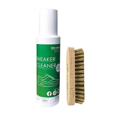 bio-chem Sneakerreiniger 2 in 1 Reiniger mit Schaumkopf Premium Schuhpflege Reinigungsset 250 ml inkl. Bürste für empfindliche und unempfindliche Materialien