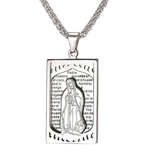 Inveroo Virgen María Colgante Biblia Collar Mujeres Acero Inoxidable Libro religioso Hombres Joyería Cristiana