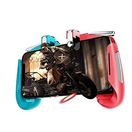 Newseego PUBG Mobile Game Controller, Controlador Móvil Joystick con L1R1 Trigger Puntería y Disparo Altamente Sensibles para iOS & Android para Knives out - Azul + Rojo