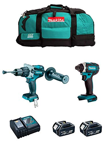 MAKITA Kit MK211 (Taladro Percutor DHP481 + Atornillador de Impacto DTD152 + 2 Baterías de 5,0 Ah + Cargador + LXT600)