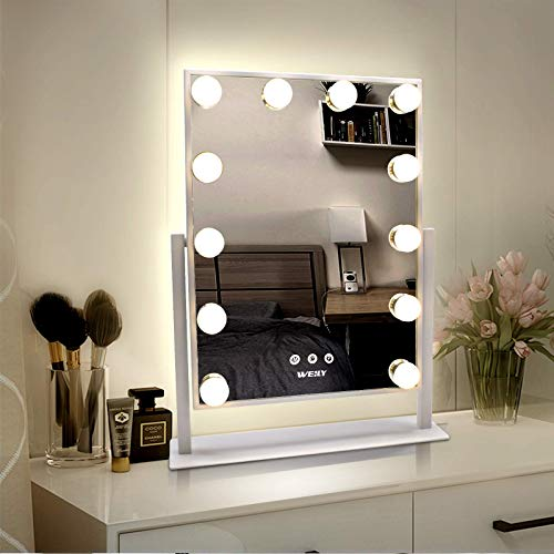 WEILY Hollywood Makeup Mirror with Lights, Large Lighted Vanity Mirror with 3 Color Light & 12 Dimmable Led Bulbs,Smart Touch Control Screen & 360 Degree Rotation