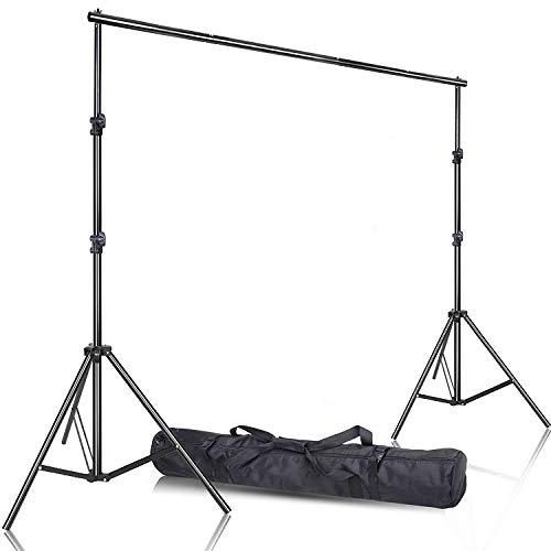 Fotostudio Ständer Set, 2.6M x 3M/8.5ft x 10ft Hintergrundsystem Aluminium Fotoständer Photography Background Stand Backdrop Stativ mit Tragetasche für Muslins,Stoff,Papier,Canvas