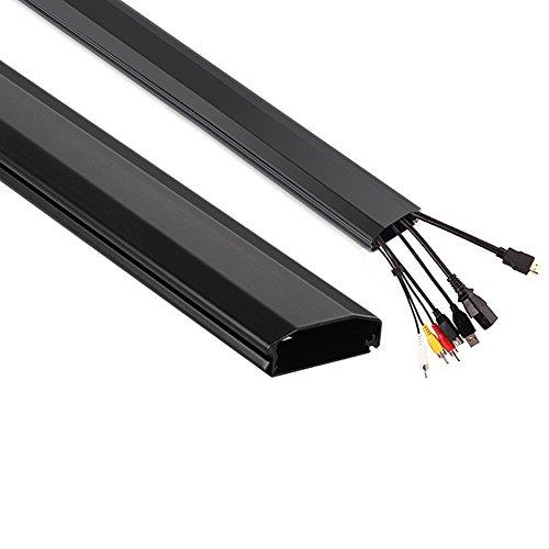 Maclean Kabelkanal 75cm Kabel Kanal Leiste Profil Aufputz Organizer Kabelführung Aluminium 60x20x750mm (Schwarz)