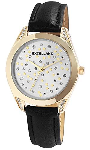 Excellanc Reloj de pulsera para mujer, plateado, negro y dorado, analógico, de cuarzo, piel sintética, reloj de pulsera