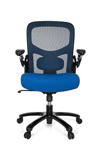 hjh OFFICE 736140 Büro-Schreibtisch-Stuhl bis 220-kg Instructor SW X-XL Netz-Stoff, Schwarz Blau, klappbare Armlehnen, Netz-Rücken