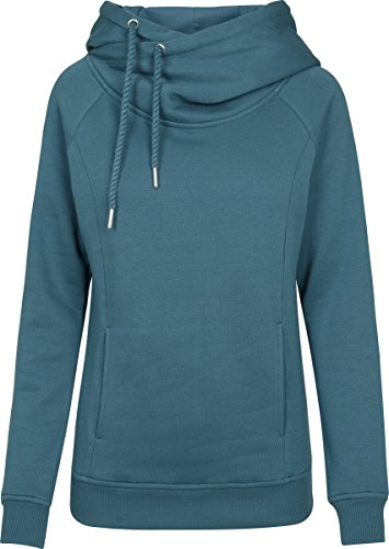 Urban Classics Damen Ladies Raglan High Neck Hoody Kapuzenpullover, Grün (Teal 1143), Large