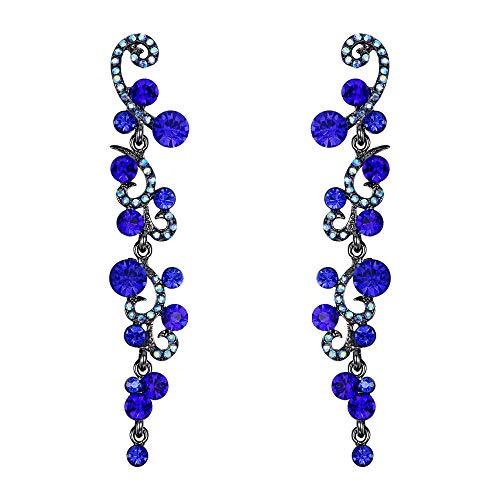 EVER FAITH Mujer Cristal Pendientes Colgante Boda Flor Oleada Azul Tono Negro