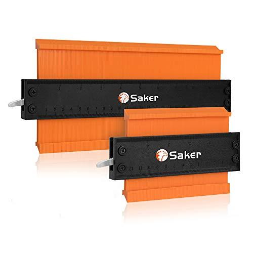 Saker Jauge De Contour Règle avec serrure en Aluminium Épaissi - Copie précise du duplicateur de forme irrégulière - Soudage irrégulier traçage du bois 5INCH+10INCH