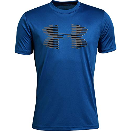 Under Armour boys Tech Big Logo Solid T-Shirt, Royal (400)/Graphite, Youth Medium