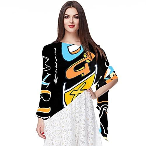 WJJSXKA Bufandas de gasa, chales y abrigos para vestidos de noche, chal de boda grande y suave, boceto, patrón de baloncesto deportivo, estrella, poder fresco