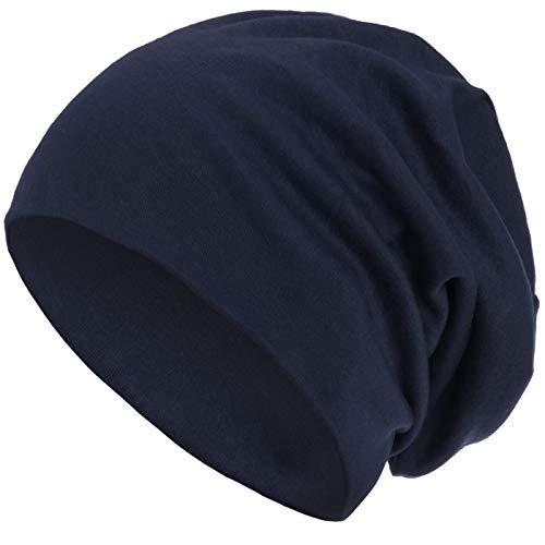style3 Warme Herbst Winter Slouch Beanie XXL aus atmungsaktivem, feinem und leichten Jersey Unisex Mütze Wintermütze One Size, Farbe:Marineblau