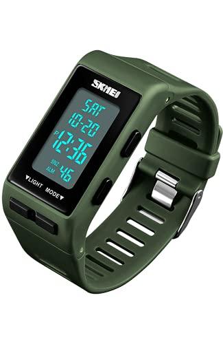 Orologio Digitale per Ragazzi, Orologi Bambini, 50M Impermeabile Sportivo Orologi da polso Grande Verde con LED Allarme Cronometro Calendario Data