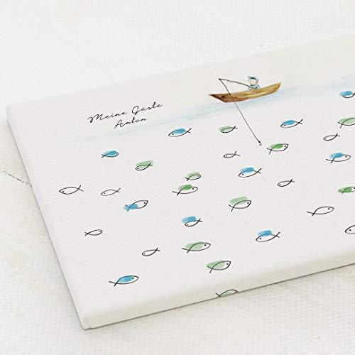 sendmoments Leinwand Fingerabdruck, Fischerboot Kommunion, Querformat 40x30 cm, personalisiert mit...