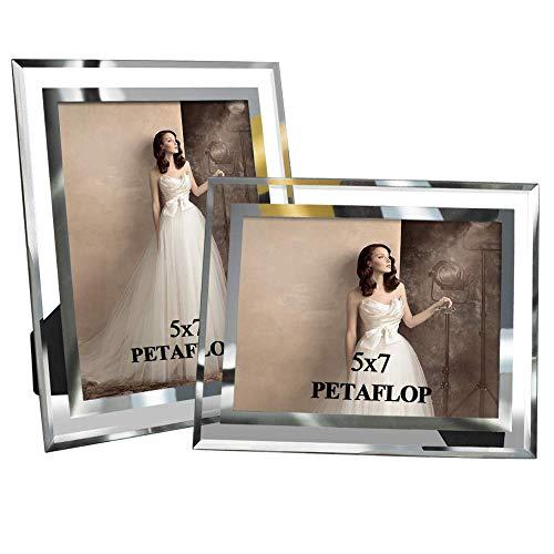 PETAFLOP Cadre Photo en Verre 13x18 cm, Cadre Photo Verre Lot de 2 à Poser pour Décoration Moderne