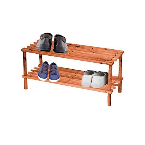 Zapateros de madera, CON 2 ESTANTES/NIVELES. Madera resistente de primera calidad. Organizador de zapatos. TAMAÑO: 63 x 28,5 x 26,5 cm. Estantería de calzado. 2 baldas.