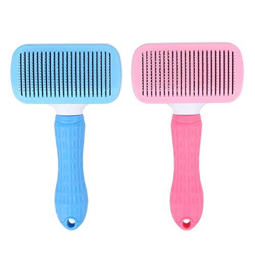 Partículas de massagem escova de cabelo de animal de estimação, escova de cabelo rosa de cachorro, escova de massagem de pente escova de animal de estimação bonito para pentear escova de