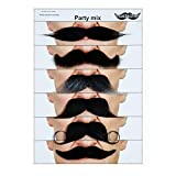 Mustaches Self Adhesive Fake Mustache Mix, Novelty, False Facial Hair Value Pack (6pcs.)