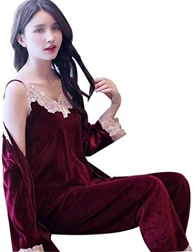 PATA Pijamas para mujer primavera y otoño invierno sexy Sling Plus pijama de terciopelo de manga larga chaqueta casual ropa para el hogar de tres piezas A (color: rojo vino, talla: XL)