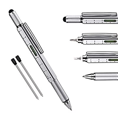 Useful Gadgets Business Gift for men, 6 in 1 Sliver tool pen with Ruler, Level gauge, Ballpoint Pen, Stylus and 2 Screw Drivers, Multifunction Tool Pen Fit for Engineers and Technicians in Gift Box from Keria