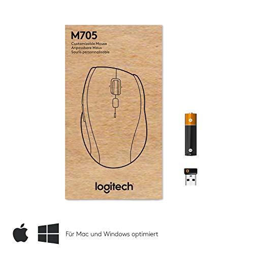 Logitech M705 Marathon Kabellose Maus, Umweltfreundliche-Verpackung, 2.4 GHz Verbindung via Unifying USB-Empfänger, 1000 DPI Laser-Sensor, 3-Jahre Akkulaufzeit, 7 Tasten, PC/Mac - Grau - 4
