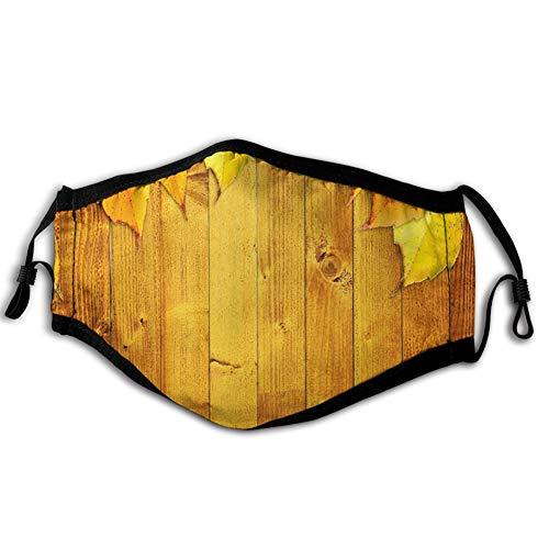 Comfortabele Winddichte Gezichtsafdekking, Kleurrijke Levendige Seizoensgebonden Bladeren op De Houten Planken Natuurlijke Ontwerp Rustiek, Gedrukte Gezichtsdecoraties voor man en vrouw