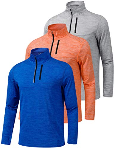 Liberty Imports Pack of 3 Men's Performance Quarter Zip Pullovers with...