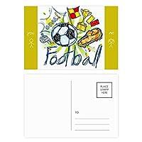 フットボールサッカー漫画シリーズのパターン 友人のポストカードセットサンクスカード郵送側20個