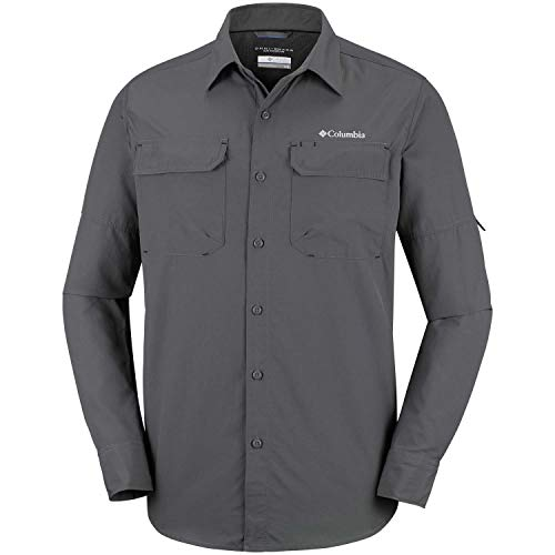 Columbia Silver Ridge II, Chemise à Manches Longues, Homme,, 100% Nylon, Gris (Grill), Taille US : M, 1794941028M