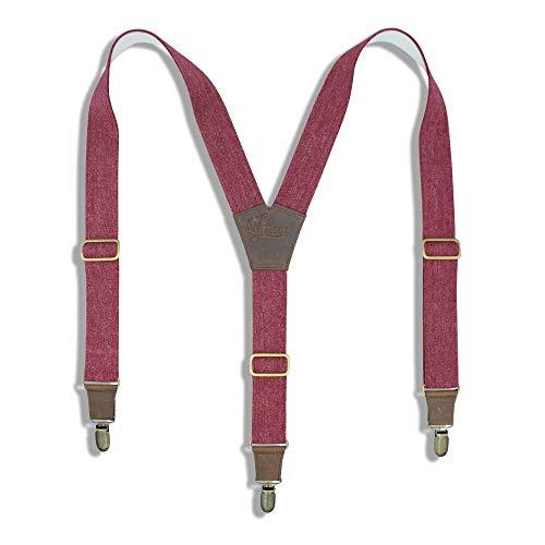 Wiseguy bordeaux rode bretels met een jeans look , 3,5 cm breed Elastisch met een extra schuifklem op de rug voor een perfecte pasvorm. I Donker bruine lederen connectoren