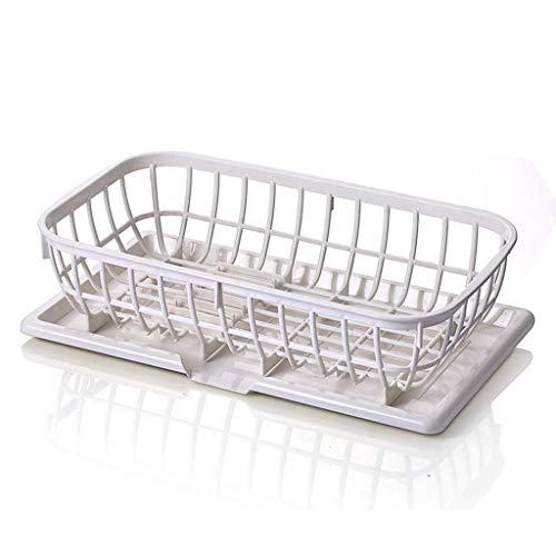 DJY-JY Placa rack rack Plato PP antideslizante Plato de almacenamiento en rack rack de verduras de drenaje Alimentación Cocina desagüe del cajón Organizador (Color: blanco, tamaño: 41 * 23 * 11 cm)