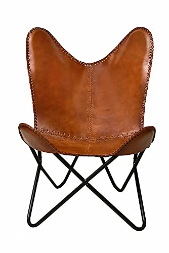Classy Handmade Leather Living Room Chairs-Butterfly Chair Tan Side Hand Stich Leather Butterfly Chair-Handmade with Powder Coated Folding Iron Frame (Cover with Folding Frame) (Stylish Black Frame)