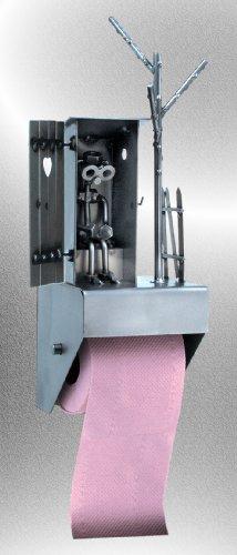 Boystoys HK Design - Toilettenpapierhalter WC-Häuschen mit Herz Metall Art Klopapierhalter - Original Schraubenmännchen Kollektion - handgefertigte Geschenkidee