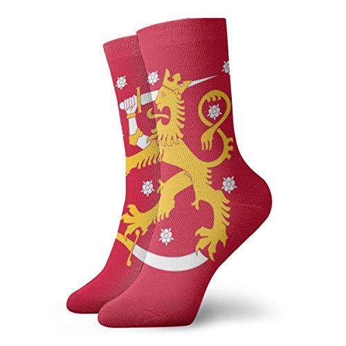 BJAMAJ Unisex Sokken Vlag Van Finland Interessant Polyester Crew Sokken Volwassene Sokken Katoen