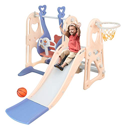 Aneken Toddler Slide and Swing Set, 4 in 1 Kids Play Climber Slide Playset Indoor and Outdoor Playground, Slides for Kids Easy Climb Stairs Easy Set Up with Basketball Hoop Extra Ball (Pink&Blue)