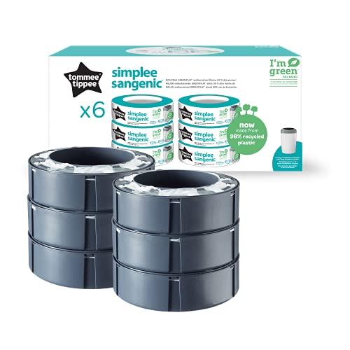Tommee Tippee Simplee - Recambio para el contenedor, paquete de 6 (solo compatible con el contenedor Simplee Sangenic)