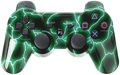 Green Lightning Storm Electric Vinyl Decal Sticker Skin by Moonlight Printing for PS3 Dual Shock wireless controller