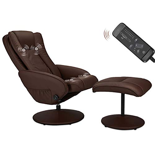 Esright Recliner Chair and Ottoman, 360 Degrees Swivel Ergonomic Faux Leather Lounge Recliner with Footrest, Vibration Massage Lounge Chair with Side Pocket, Brown