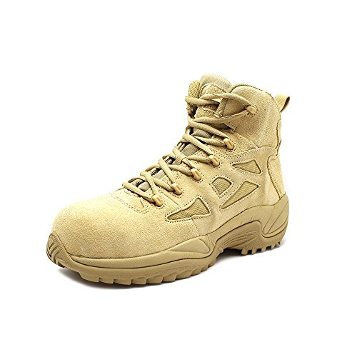"""Reebok Men's Stealth 6"""" Lace-Up with Side-Zip Tactical Work Boot Desert Khaki 11.5 D(M) US"""