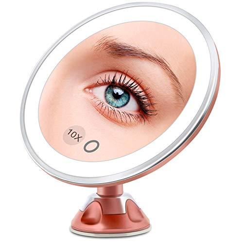FASCINATE Espejo Maquillaje con Luz LED Aumento 10X Afeitado Aumento con Luz, Espejo Aumento LED Cosmético con Ampliación 10X y Poderoso Ventosa, Rotación 360° (Oro Rosa)