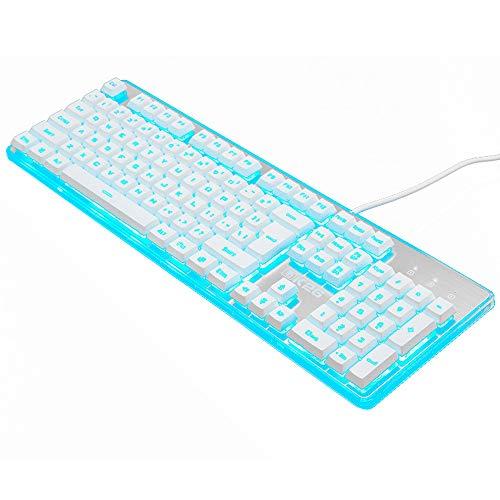 Guanwen Gaming-toetsenbord met mechanisch gevoel, met kabel en blauwe achtergrondverlichting, multimedia-metaal, ergonomische USB-set voor PC/laptop