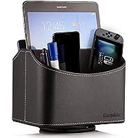 EasyAcc Caja de Almacenamiento de PU con 360 Grados Giratoria 5 Compartimentos para Remoto iPad Móvil CD Libro Negro